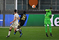Football: Europa League - quarter final 2nd leg AS Roma vs Ajax, Olympic Stadium. Rome, Italy, March 15, 2021.<br /> Ajax's Bryan Brobbey (C) scores in spite of Roma's goalkeeper Pau Lopez (R) and Bryan Cristante (L) during the Europa League football match between Roma at Rome's Olympic stadium, Rome, on April 15, 2021.  <br /> UPDATE IMAGES PRESS/Isabella Bonotto