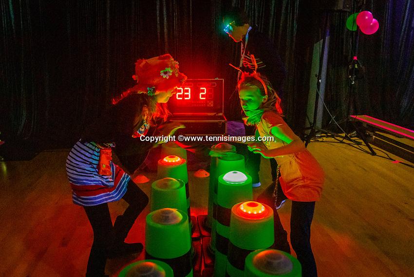The Hague, The Netherlands, Februari 8, 2020,    Sportcampus, FedCup  Netherlands -  Balarus, Glow in the dark<br /> Photo: Tennisimages/Henk Koster
