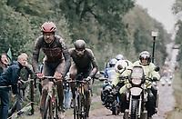 Florian Vermeersch (BEL/Lotto Soudal) & Nils Eekhof (NED/DSM) rolling through the Arenberg Forest / Trouée d'Arenberg / Bois de Wallers<br /> <br /> 118th Paris-Roubaix 2021 (1.UWT)<br /> One day race from Compiègne to Roubaix (FRA) (257.7km)<br /> <br /> ©kramon