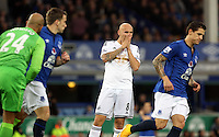 Liverpool, UK. Saturday 01 November 2014<br /> Pictured: Jonjo Shelvey of Swansea (C) disappointed after his shot goes over the bar.<br /> Re: Premier League Everton v Swansea City FC at Goodison Park, Liverpool, Merseyside, UK.