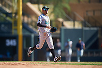 Salt River Rafters center fielder Victor Victor Mesa (10), of the Miami Marlins organization, celebrates after winning the Arizona Fall League Championship Game against the Surprise Saguaros on October 26, 2019 at Salt River Fields at Talking Stick in Scottsdale, Arizona. The Rafters defeated the Saguaros 5-1. (Zachary Lucy/Four Seam Images)