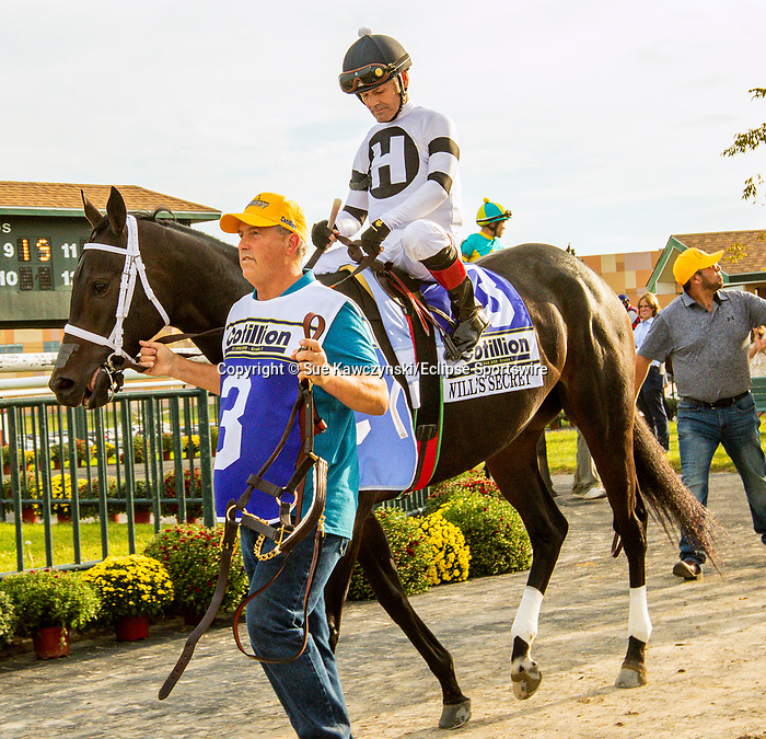 SEPT 25, 2021: Will's Secret post parade for the Gr.1 Cotillion Stakes, for 3-year old fillies, going 1 1/16mile, at Parx Racing, Bensalem, PA. Sue Kawczynski/Eclipse Sportswire/CSM