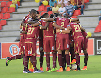 IBAGUE -COLOMBIA, 7-08-2016. Concentración y planeación juego del Deportes Tolima. Acción de juego entre Millonarios vs Tolima   durante encuentro  por la fecha 7 de la Liga Aguila II 2016 disputado en el estadio Manuel  Murillo Toro./ Team of Deportes Tolima. Action game between  Millonarios  and Tolima  during match for the date 7 of the Aguila League II 2016 played at Mnauel  Murillo Toro stadium. Photo:VizzorImage / Juan Carlos Escobar Tagueno / Contribuidor