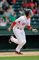 Left fielder Bryan Hudson (18) of the Greenville Drive bats in a game against the Savannah Sand Gnats on Sunday, July 5, 2015, at Fluor Field at the West End in Greenville, South Carolina. Savannah won, 8-6. (Tom Priddy/Four Seam Images)