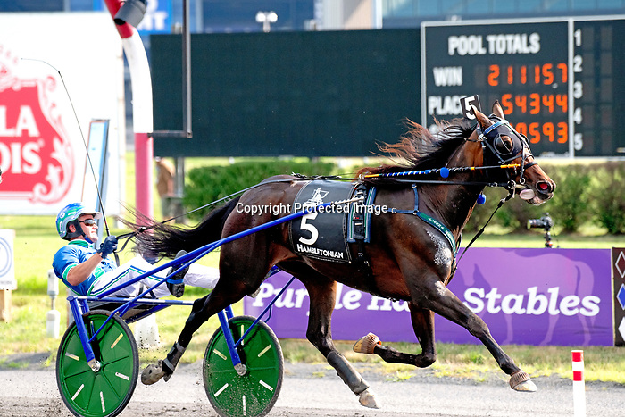 """August 8, 2020: Ramona Hill won the 95th Hambletonian as the peoples choice for the connections of Tony Alagana and Crawford farms.  Aussie Andrew McCarthy was in the """"sulkie"""" at the Medowlands in East Rutherford, New Jersey. Heary/Eclipse Spotrswire/CSM"""