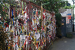 """Cross Bones Graveyard, Recross Way Southwark, London  UK ..Cross Bones is a post-medieval disused burial ground in The Borough, Southwark, south London, in what is now known as Redcross Way..It is believed to have been established originally as an unconsecrated graveyard for """"single women,"""" a euphemism for prostitutes, known locally as """"Winchester Geese,"""" because they were licensed by the Bishop of Winchester to work within the Liberty of the Clink. The liberty lay outside the jurisdiction of the City of London, and as a consequence it became known for its brothels and theatres, as well as bull and bear baiting, activities not permitted within the City itself.."""