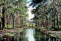 Philippines: Baguio--Closer view of pond on tree-lined street. Photo '82.