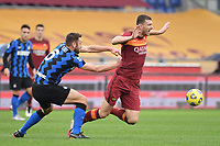 Stefan De Vrij of Inter and Edin Dzeko of Roma<br /> during the Serie A football match between AS Roma and FC Internazionale at Olimpico stadium in Roma (Italy), January 10th, 2021. Photo Andrea Staccioli / Insidefoto