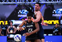Silver Ferns goalshoot Grace Nweke competes for the ball during the Cadbury Netball Series match between NZ Silver Ferns and NZ Men at the Fly Palmy Arena in Palmerston North, New Zealand on Thursday, 22 October 2020. Photo: Dave Lintott / lintottphoto.co.nz