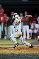 Ben Bomberger (19) of the Catawba Indians follows through on his swing against the Belmont Abbey Crusaders at Abbey Yard on February 7, 2017 in Belmont, North Carolina.  The Crusaders defeated the Indians 12-9.  (Brian Westerholt/Four Seam Images)