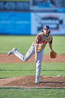 Rocky Mountain Vibes starting pitcher Michele Vassalotti (28) delivers a pitch to the plate against the Ogden Raptors at Lindquist Field on July 6, 2019 in Ogden, Utah. The Vibes defeated the Raptors 7-2. (Stephen Smith/Four Seam Images)