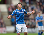 Hearts v St Johnstone...02.08.15   SPFL Tynecastle, Edinburgh<br /> John Sutton celebrates his goal<br /> Picture by Graeme Hart.<br /> Copyright Perthshire Picture Agency<br /> Tel: 01738 623350  Mobile: 07990 594431