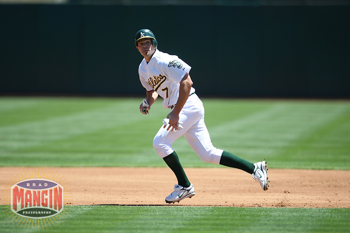 OAKLAND, CA - JULY 30:  Bobby Crosby of the Oakland Athletics runs the bases during the game against the Kansas City Royals at the McAfee Coliseum in Oakland, California on July 30, 2008.  The Royals defeated the Athletics 4-3.  Photo by Brad Mangin