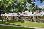 Rows of patriotic tent houses in the methodist community of Ocean Grove, New Jersey