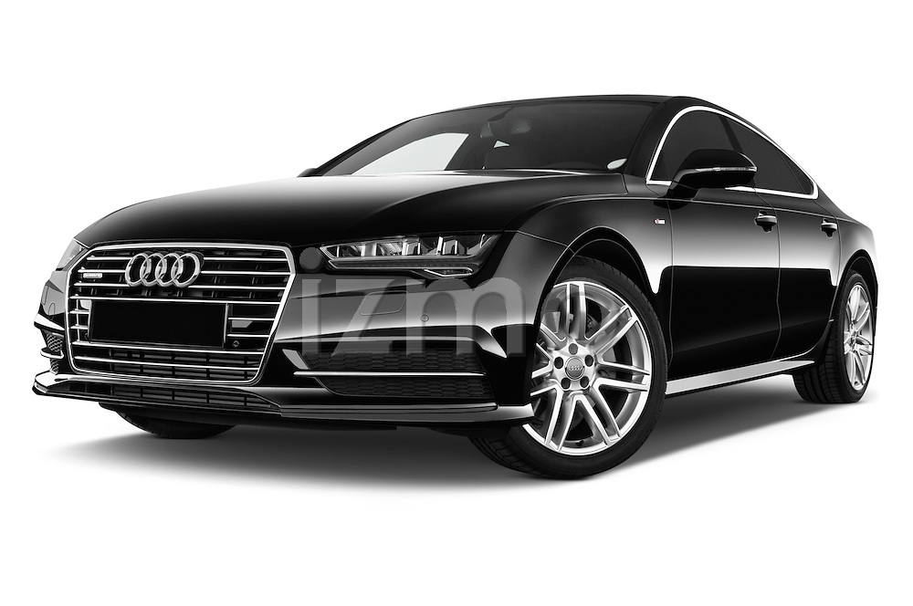 Stock pictures of low aggressive front three quarter view of a 2015 Audi A7 S Line 5 Door Hatchback Low Aggressive