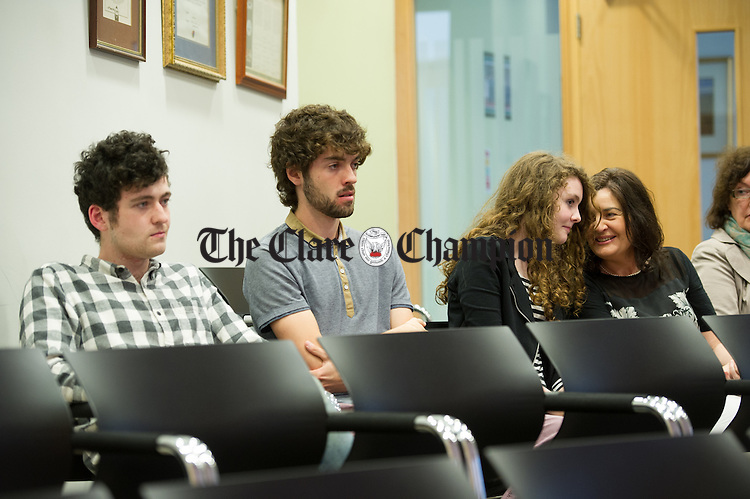 Mrs. Catherine Flynn and family of newly elected Mayor Councillor Johnny Flynn look on from the public Gallery during the first meeting of the new Ennis Municipal District at Aras An Chlair. Photograph by John Kelly.