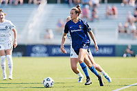 CARY, NC - SEPTEMBER 12: Havana Solaun #19 of the NC Courage looks for options during a game between Portland Thorns FC and North Carolina Courage at Sahlen's Stadium at WakeMed Soccer Park on September 12, 2021 in Cary, North Carolina.