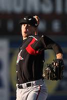 Matt Branham #34 of the Lake Elsinore Storm warms up in the bullpen during a game against the Lancaster JetHawks at Clear Channel Stadium on May 11, 2012 in Lancaster,California. (Larry Goren/Four Seam Images)