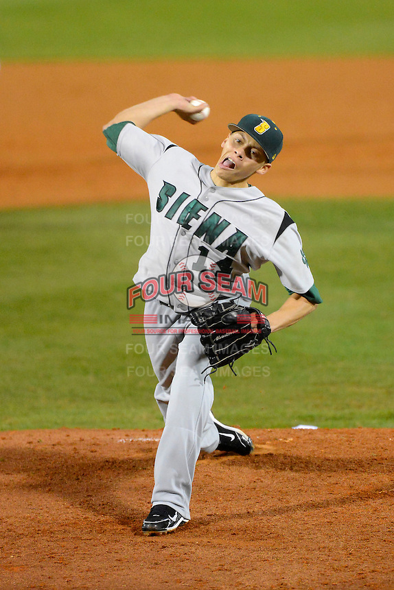 Siena Saints pitcher Justin Brantley #14 during a game against the Central Florida Knights at Jay Bergman Field on February 15, 2013 in Orlando, Florida.  UCF defeated Siena 7-1.  (Mike Janes/Four Seam Images)