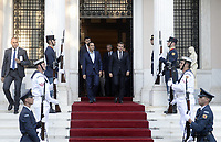 Pictured: (L-R) French President Emmanuel Macron is escorted by Greek Prime Minister Alexis Tsipras out of Maximos Mansion in Athens, Greece. Thurday 07 September 2017<br /> Re: French President Emmanuel Macron state visit to Athens, Greece.
