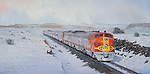 """Santa Fe passenger train pulled by F7 units in warbonnet paint heading west across the snowy high desert in New Mexico. Oil on canvas, 17"""" x 23""""."""