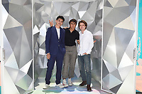 """SANTA MONICA, CA - JUNE 11: Anthony Keyvan (L), Michael Cimino (C) and George Sear pose for a photo at a special photo-activation in honor of Pride Month and the Season 2 premiere of the Hulu Original Series """"Love, Victor,"""" on June 11, 2021 in Santa Monica, California. (Photo by Frank Micelotta/Hulu/PictureGroup)"""