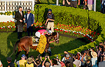 May 15, 2021 : Connections celebrate after Rombauer, #6, ridden by jockey Flavien Prat wins the Preakness Stakes on Preakness Stakes Day at Pimlico Race Track in Baltimore, Maryland on May 15, 2021. John Voorhees/Eclipse Sportswire/CSM