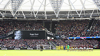 A one minute applause was held in honour of former Liverpool and England player, Roger Hunt, who recently passed away during West Ham United vs Brentford, Premier League Football at The London Stadium on 3rd October 2021