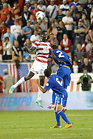 U.S midfielder Eddie Johnson (18) wins the aerial battle with Ruben Morales..USMNT defeated Guatemala 3-1 in World Cup qualifying play at LIVESTRONG Sporting Park, Kansas City, KS.