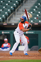 "Buffalo Bisons Richard Urena (16) at bat during an International League game against the Scranton/Wilkes-Barre RailRiders on June 5, 2019 at Sahlen Field in Buffalo, New York.  The Bisons wore special uniforms as they played under the name the ""Buffalo Wings"". Scranton defeated Buffalo 3-0, the first game of a doubleheader. (Mike Janes/Four Seam Images)"