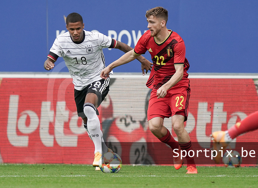 Germany's Ismail Jakobs (18) and Belgium's Alexis Saelemaekers (22) in action during a soccer game between the national teams Under21 Youth teams of Belgium and Germany on the 5th matday in group 9 for the qualification for the Under 21 EURO 2021 , on tuesday 8 th of September 2020  in Leuven , Belgium . PHOTO SPORTPIX.BE | SPP | SEVIL OKTEM
