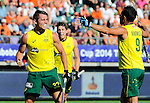 The Hague, Netherlands, June 13: Jeremy Hayward #32 of Australia is congratulated by Mark Knowles #9 of Australia during the field hockey semi-final match (Men) between Australia and Argentina on June 13, 2014 during the World Cup 2014 at Kyocera Stadium in The Hague, Netherlands. Final score 5-1 (3-0)  (Photo by Dirk Markgraf / www.265-images.com) *** Local caption ***