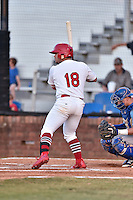 Johnson City Cardinals designated hitter Joshua Lopez (18) awaits a pitch during Game Two of the Appalachian League Championship series against the Burlington Royals at TVA Credit Union Ballpark on September 7, 2016 in Johnson City, Tennessee. The Cardinals defeated the Royals 11-6 to win the series 2-0.. (Tony Farlow/Four Seam Images)