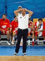 Spain`s national basketball team head coach Juan Orenga gestures during European basketball championship Eurobasket 2013, round 2, group F  basketball game between Italy and Spain in Stozice Arena in Ljubljana, Slovenia, on September 16. 2013. (credit: Pedja Milosavljevic  / thepedja@gmail.com / +381641260959)