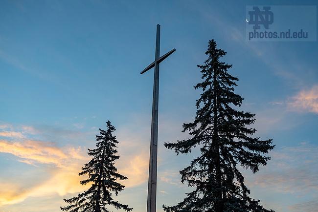 July 15, 2020; The large cross at Moreau Seminary.  (Photo by Barbara Johnston/University of Notre Dame)