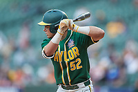 Esteban Cardoza-Oquendo (52) of the Baylor Bears at bat against the LSU Tigers in game five of the 2020 Shriners Hospitals for Children College Classic at Minute Maid Park on February 28, 2020 in Houston, Texas. The Bears defeated the Tigers 6-4. (Brian Westerholt/Four Seam Images)