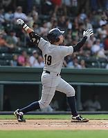 Infielder Dante Bichette, Jr. (19) of the Charleston RiverDogs, a New York Yankees affiliate, in a game against the Greenville Drive on June 24, 2012, at Fluor Field at the West End in Greenville, South Carolina. Charleston won, 7-5. Bichette is the Yankees' No. 6 prospect, according to Baseball America and was a first-round draft pick in 2011. (Tom Priddy/Four Seam Images)