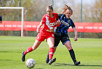 Charlotte Cranshoff (18) of Standard and Elle Decorte (7) of Club Brugge in action during a female soccer game between Standard Femina de Liege and Club Brugge YLA on the 2nd matchday in play off 1 of the 2020 - 2021 season of Belgian Scooore Womens Super League , saturday 17 th of April 2021  in Angleur , Belgium . PHOTO SPORTPIX.BE | SPP | SEVIL OKTEM