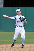 Tommy Coyle, #1, of the North Carolina Tar Heels in the field against the Missouri Tigers at Dedeaux Field on February 20, 2011 in Los Angeles,California. Photo by Larry Goren/Four Seam Images