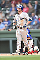 Asheville Tourists second baseman Brendan Rodgers (1) looks to his third base coach for the signs during a game against the  Greenville Drive at Fluor Field on April 10, 2016 in Greenville South Carolina. The Drive defeated the Tourists 7-4. (Tony Farlow/Four Seam Images)
