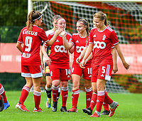 Laura Miller (9) of Standard congratulates Davinia Vanmechelen (10) of Standard  for her goal during a female soccer game between Standard Femina de Liege and Eendracht Aalst dames on the fourth matchday in the 2021 - 2022 season of the Belgian Scooore Womens Super League , Saturday 11 th of September 2021  in Angleur , Belgium . PHOTO SPORTPIX | BERNARD GILLET