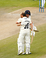 29th May 2021; Emirates Old Trafford, Manchester, Lancashire, England; County Championship Cricket, Lancashire versus Yorkshire, Day 3; Josh Bohannon of Lancashire is hugged by batting partner Danny Lamb after he reaches his century, with the pair sharing a hundred plus partnership for the seventh wicket