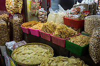 Yogyakarta, Java, Indonesia.  Nuts, Chips, and Snacks for Sale, Beringharjo Market.