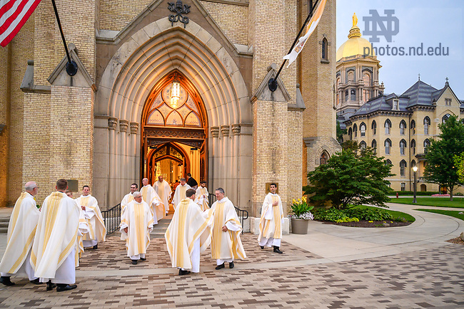 July 22, 2021; Concelebrants exit the Basilica of the Sacred Heart after the 2021 ACE Missioning Mass. (Photo by Matt Cashore/University of Notre Dame)