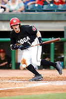 James Ramsey (1) of the Chattanooga Lookouts lays down a bunt against the Montgomery Biscuits during the game on May 23, 2018 at AT&T Field in Chattanooga, Tennessee. (Andy Mitchell/Four Seam Images)