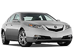 Low aggressive passenger side front three quarter view of a 2009 - 2014 Acura TL SH AWD Sedan.