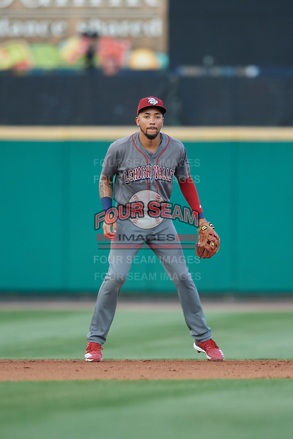 Lehigh Valley IronPigs J.P. Crawford (3) during a game against the Rochester Red Wings on September 1, 2018 at Frontier Field in Rochester, New York.  Lehigh Valley defeated Rochester 2-1.  (Mike Janes/Four Seam Images)