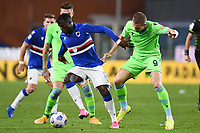 Keita Balde of UC Sampdoria and Denis Vavro of SS Lazio compete for the ball during the Serie A football match between UC Sampdoria and SS Lazio at stadio Marassi in Genova (Italy), October 17th, 2020. <br /> Photo Image Sport / Insidefoto