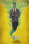 Illustrative image of businessman rising from lamp