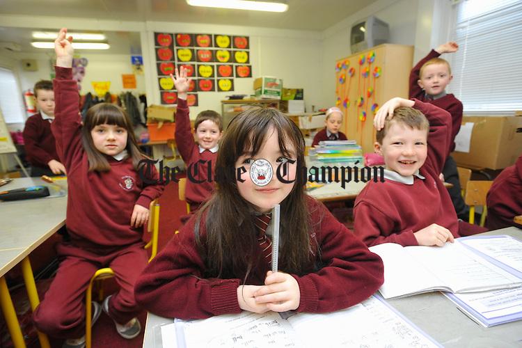 Ava O Mahoney and friends at Ballyea NS. Photograph by John Kelly.